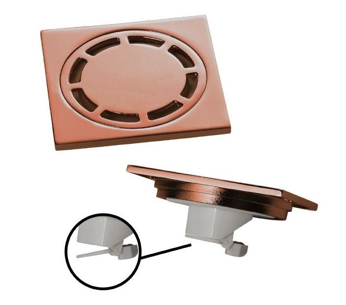 Ralo Inox Quadrado 10cm Doka com Válvula de Fechamento ROSE GOLD