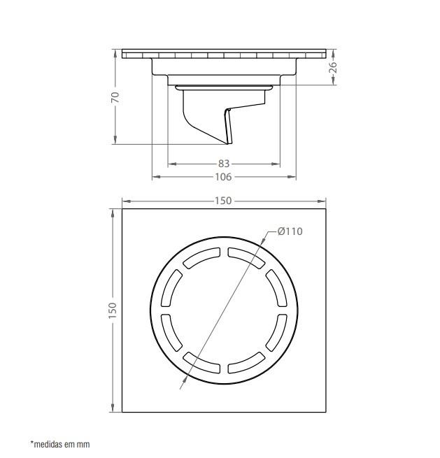 Ralo Inox Quadrado 15cm DOKA com válvula de fechamento MATT BLACK