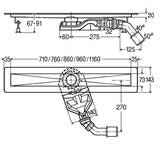 Ralo Linear Advantix Basic 75mm Altura 67mm.