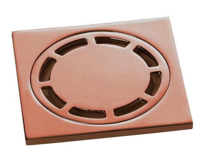 Ralo Quadrado 10cm DOKA com válvula de fechamento ROSE GOLD