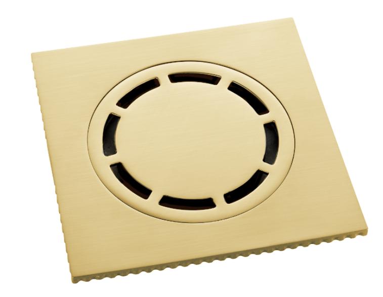 Ralo Quadrado 15cm DOKA com válvula de fechamento BRUSHED GOLD