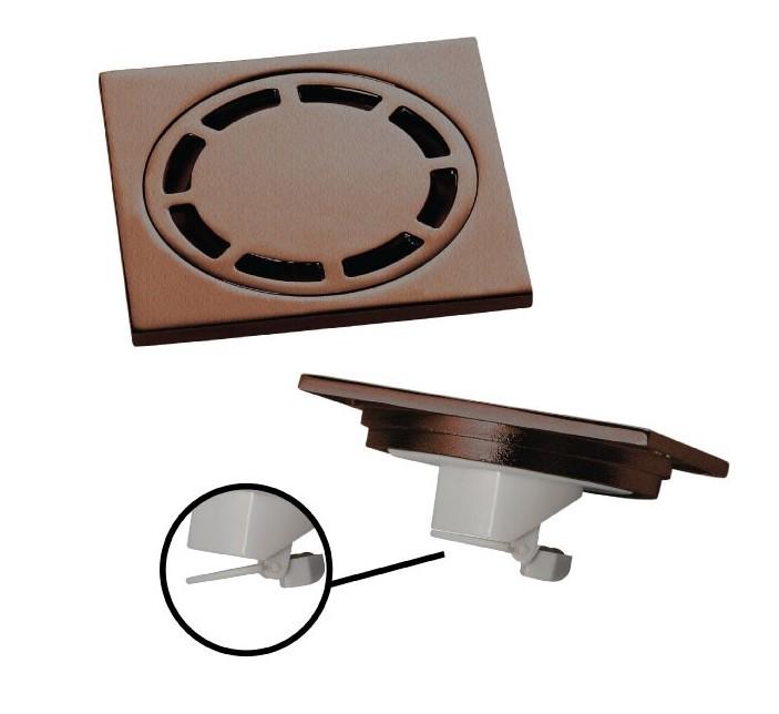 Ralo Quadrado inox DOKA 10cm com válvula de fechamento ORB