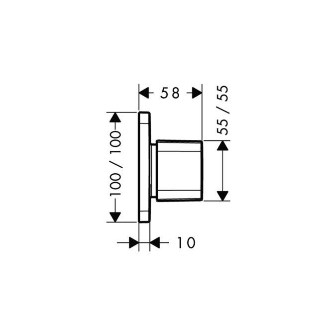 Trio/Quattro Válvula de fechamento e desviadora, para instalação embutida, DN20