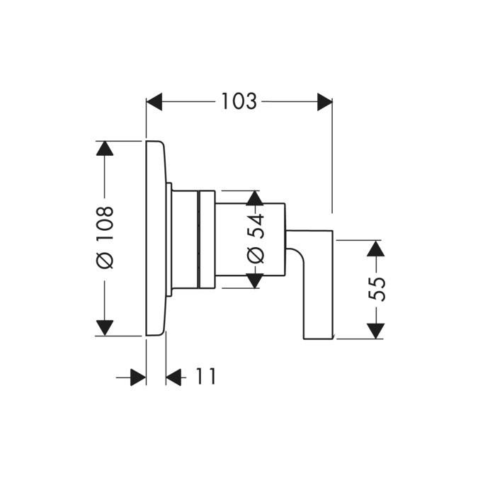 Válvula de Fechamento e Desviadora Trio/ Quattro para Instalação Embutida, com Alavanca, DN20