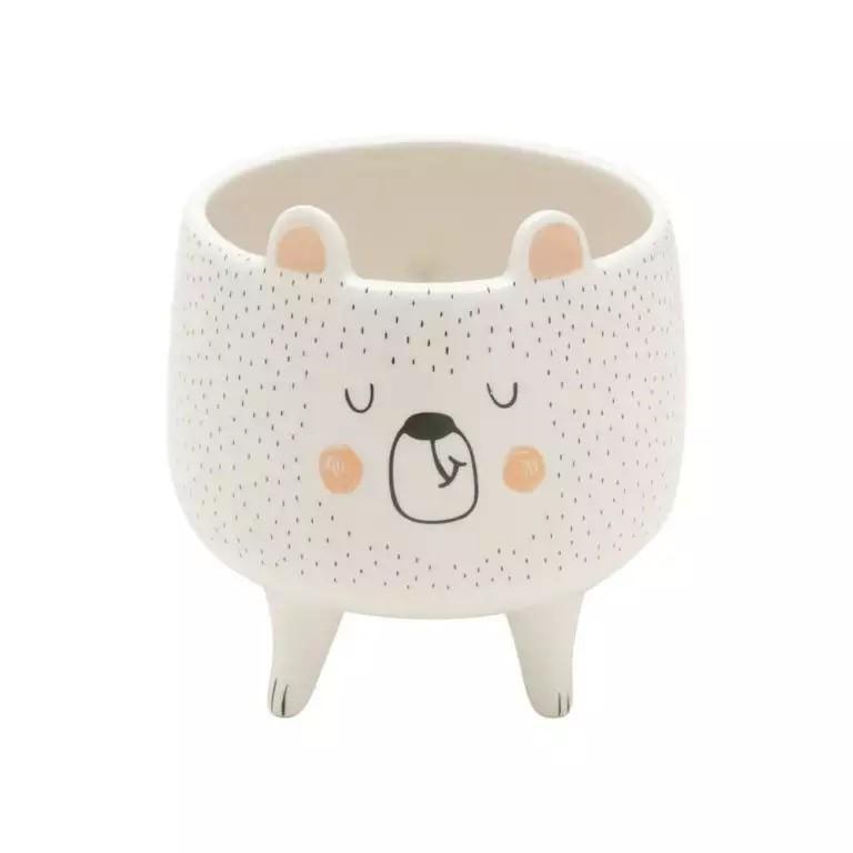 Cachepot Decorativo Ceramica Sleeping Bear Branco 11,5x11,5x12,1cm