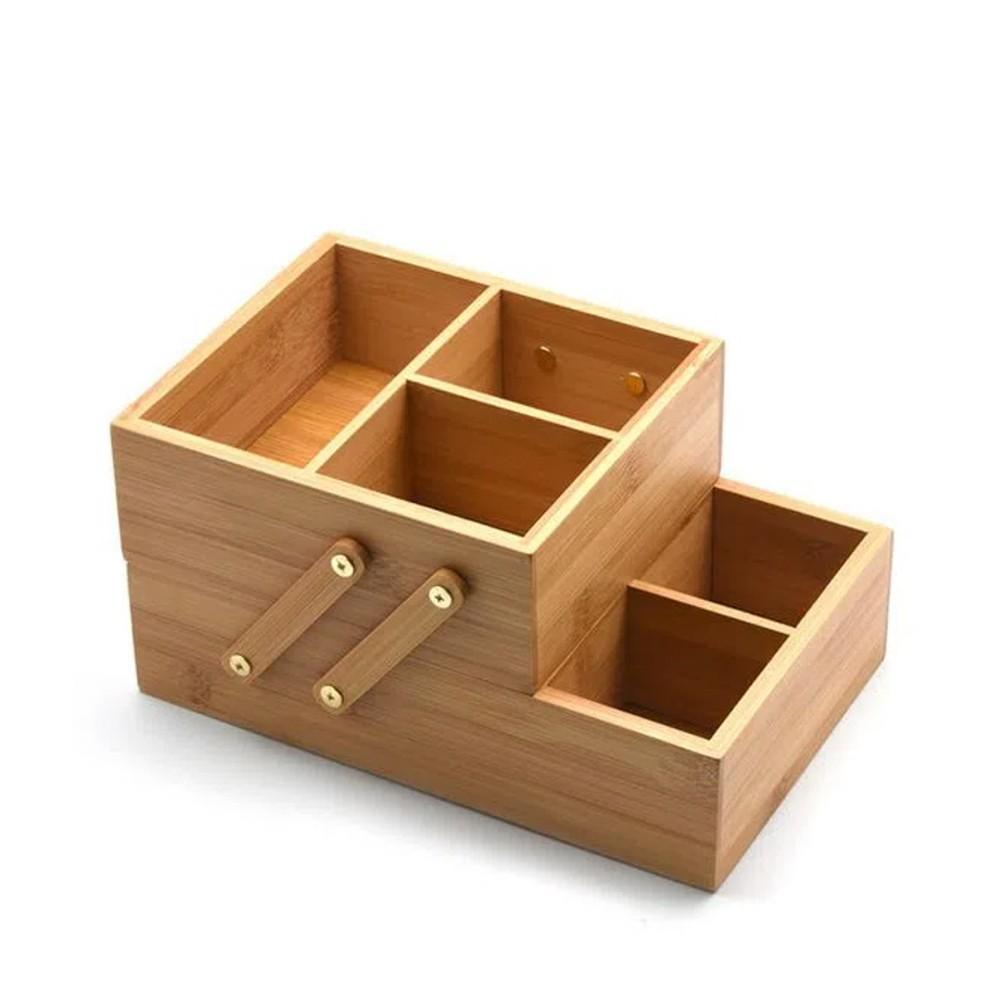 Caixa Organizadora em Bambu 2 Andares