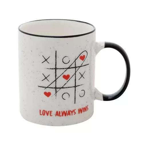 Caneca Porcelana Love Always Wins Branco e Preto 8x8x9,6cm - 350ml