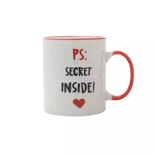 Caneca Porcelana Secret Inside Branco e Vermelho 8x8x9,6cm - 350ml