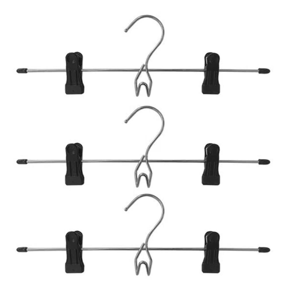 Conjunto c/ 3 Cabides de Metal c/ Clipes e Gancho Frontal