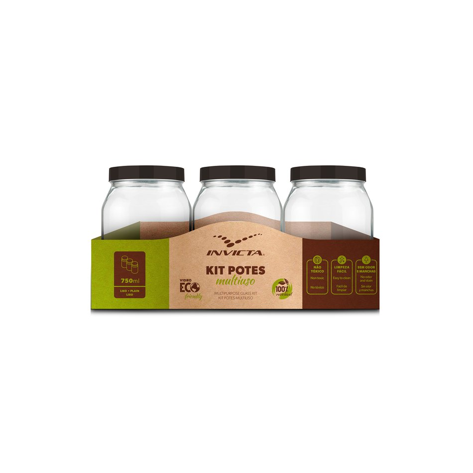 Kit Potes Quadrados 750ml