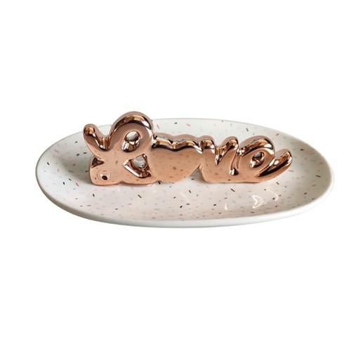 Porta Anel de Ceramica Love 13x7,5x3,5cm