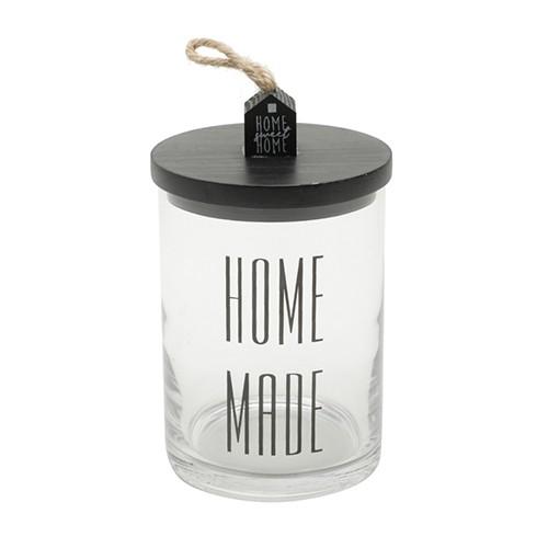 Pote de Vidro com Tampa de Madeira Home Made E 9.5X16 CM
