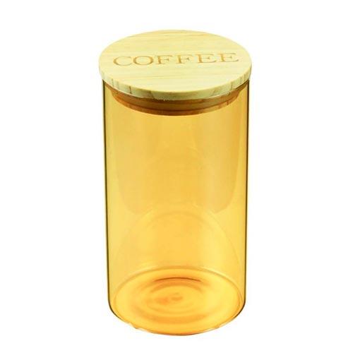 POTE VIDRO COFFEE CLEAR AMBAR COM TAMPA DE MADEIRA 10x10x18,5cm