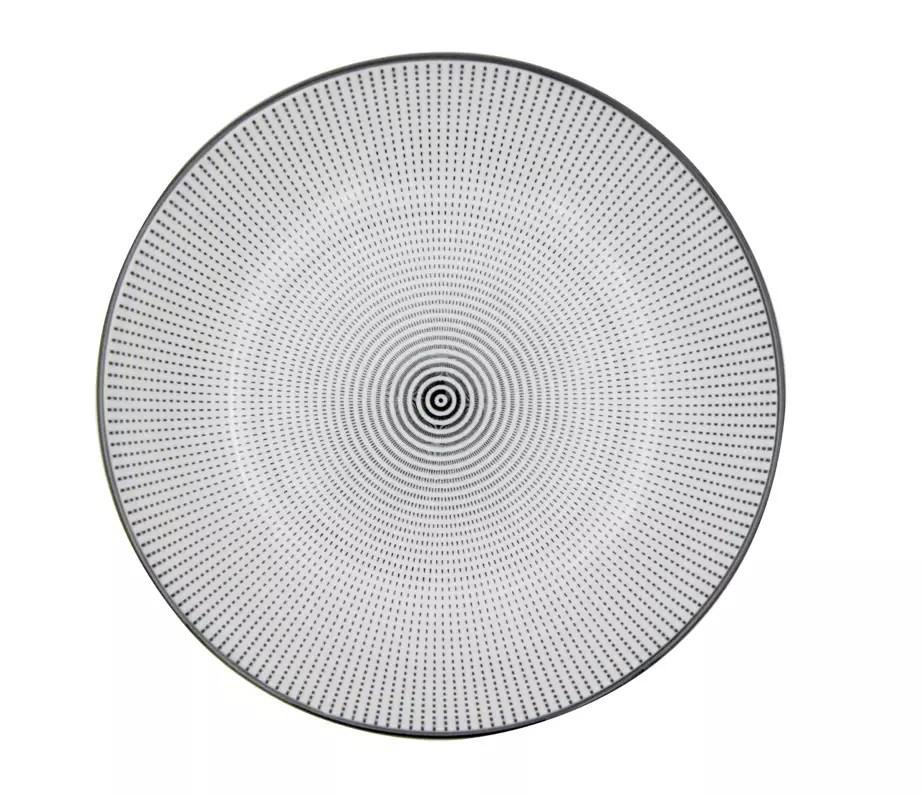 Prato de Porcelana Decor Dots Preto/Branco 20,4x20,4x4,9cm