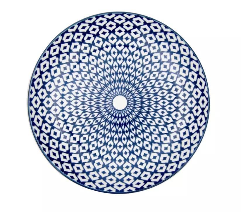 Prato de Porcelana Decor Geometric Diamond Azul e Branco 20,4x20,4x4,9cm