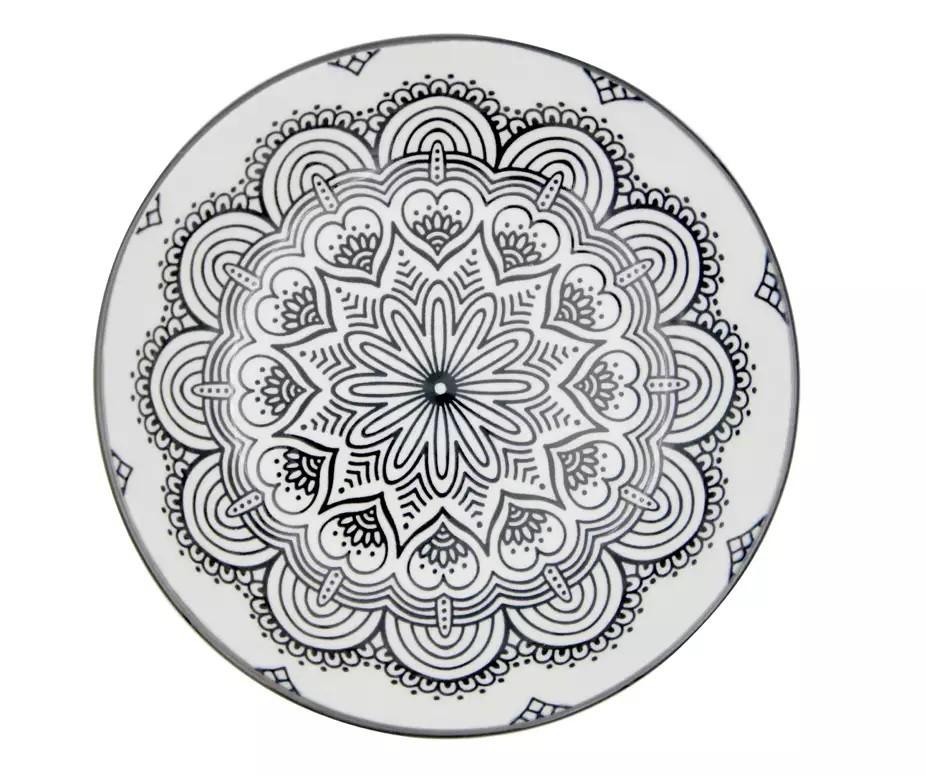 Prato de Porcelana Mandala Preto e Branco 20,4x20,4x4,9cm