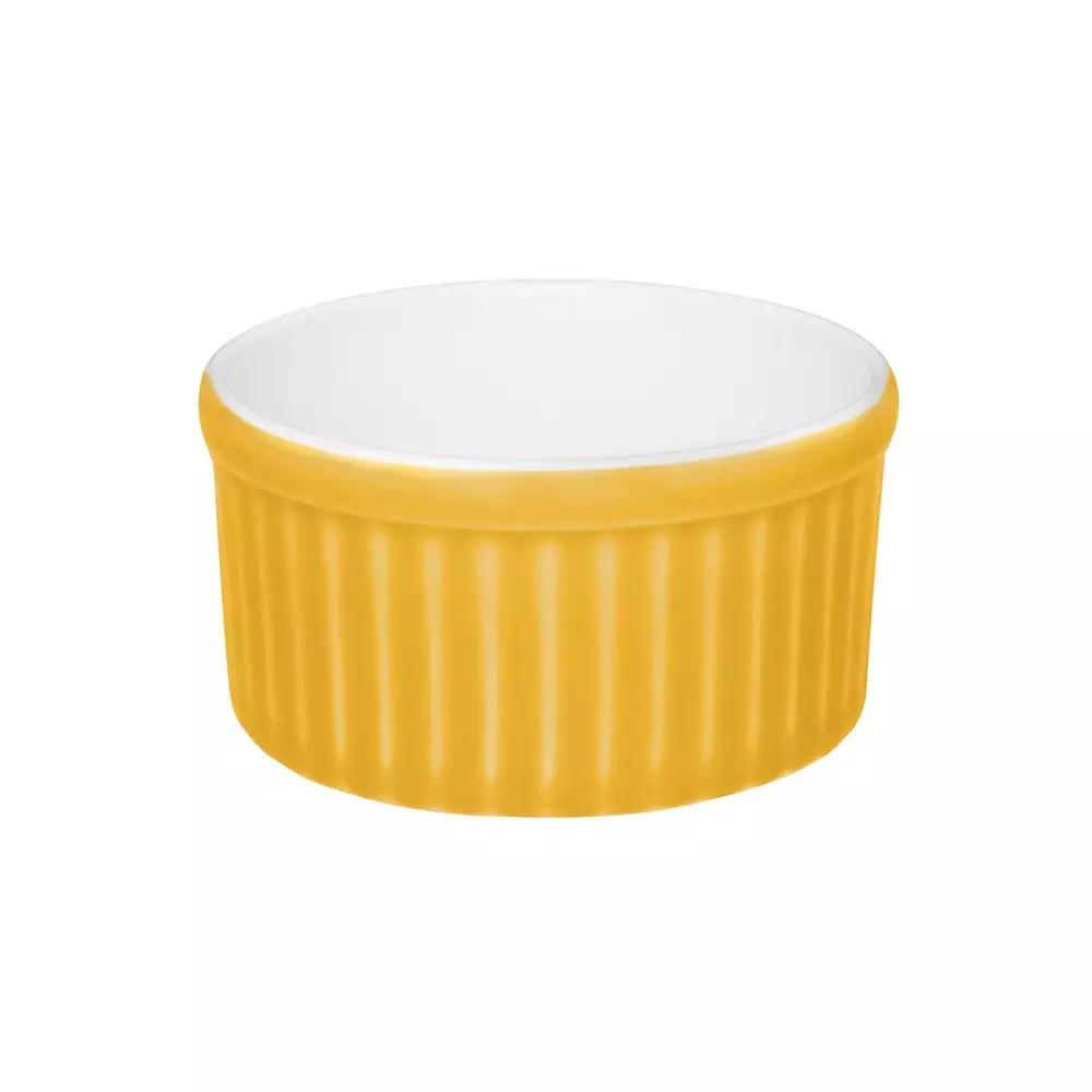 Ramequin de Porcelana 8X4cm 100ml - Branco/Amarelo - Cb34-0209