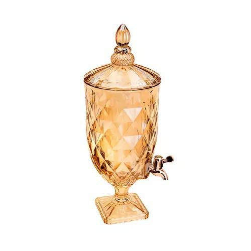 Suqueira de Cristal Ecológico c/ Torneira Gold Rose Diamante 5 Litros (Livre de Chumbo)