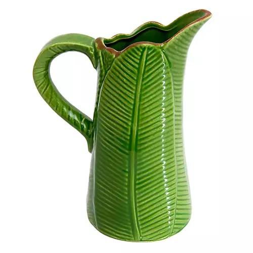 Vaso de Cerâmica Decorativo Folha de Banana Verde 18x11x23cm