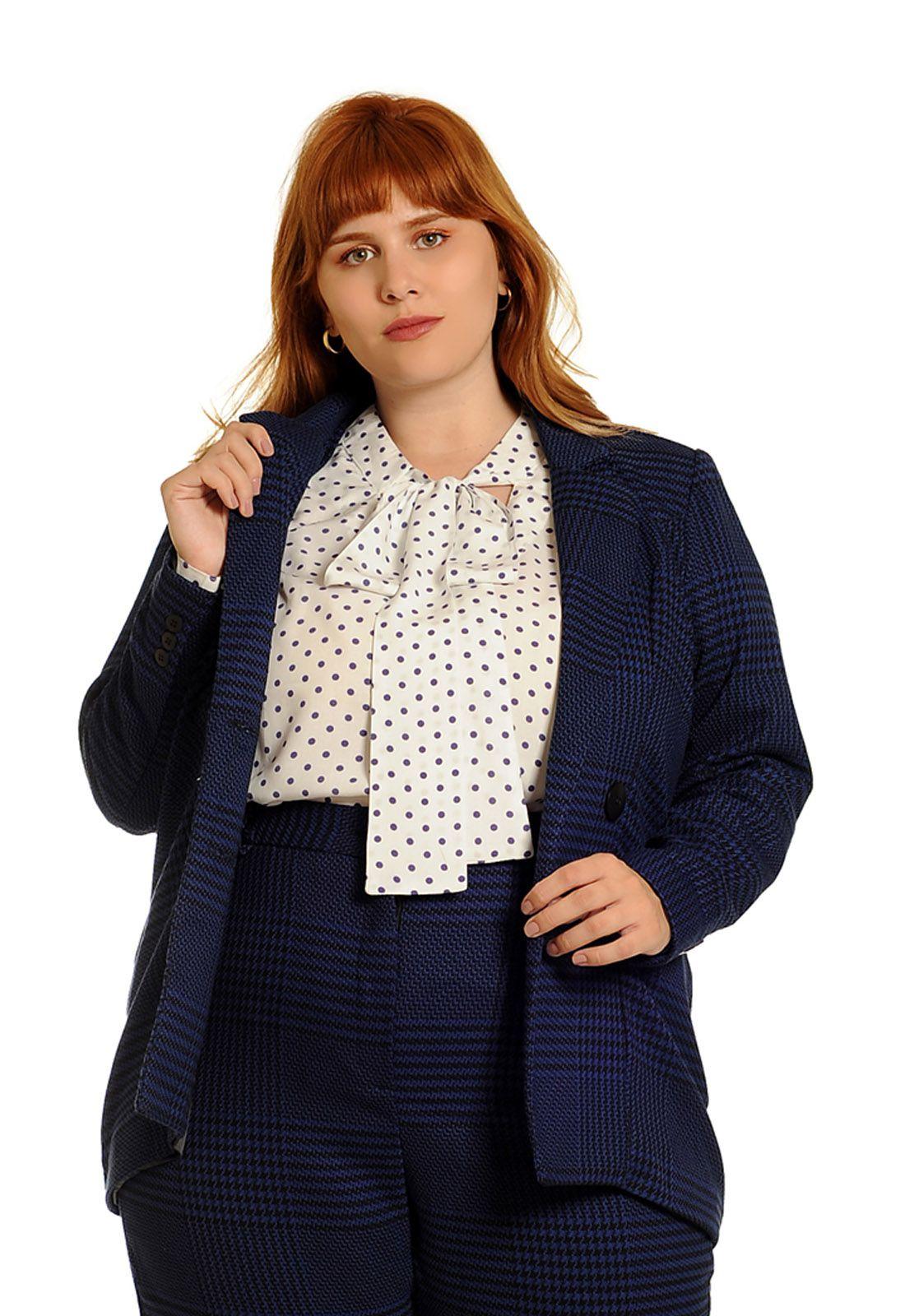 Blazer alfaiataria xadrez gales plus size azul