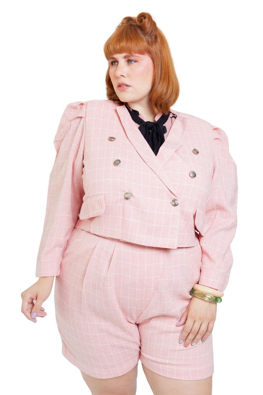 Blazer xadrez sorvetinho rosa plus size