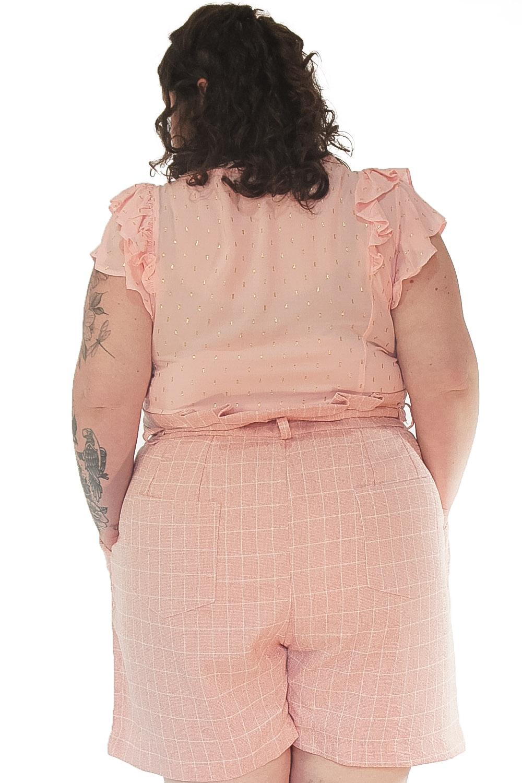 Blusa céu estrelado rosa Plus size