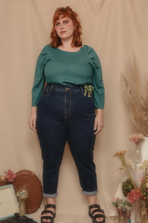 Calça MOM jeans vintage plus size azul escuro