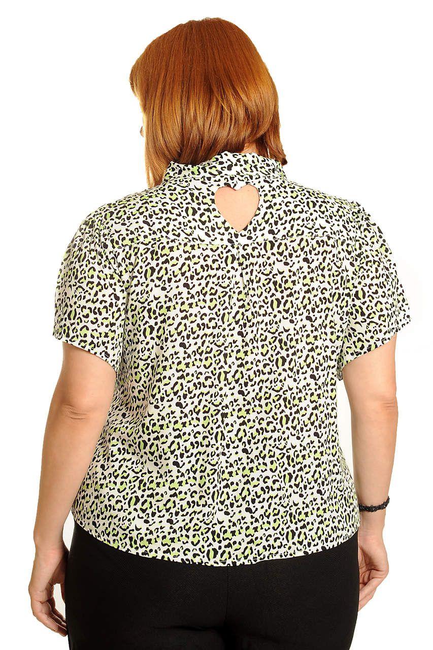 Camisa animal print verde cítrico plus size