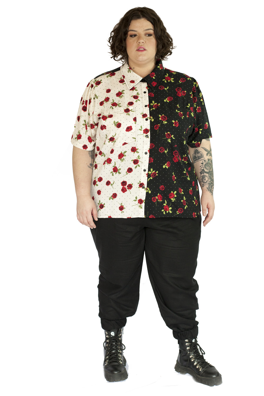 Camisa jardim yin-yang plus size