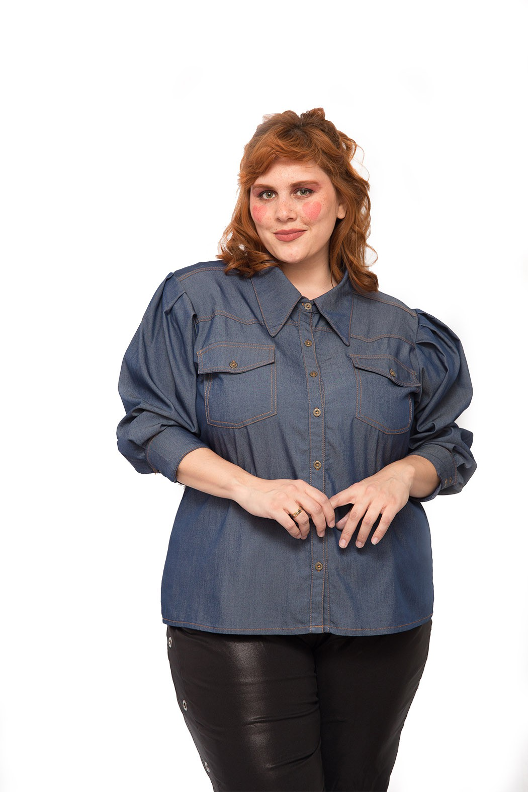 Camisa jeans plus size azul