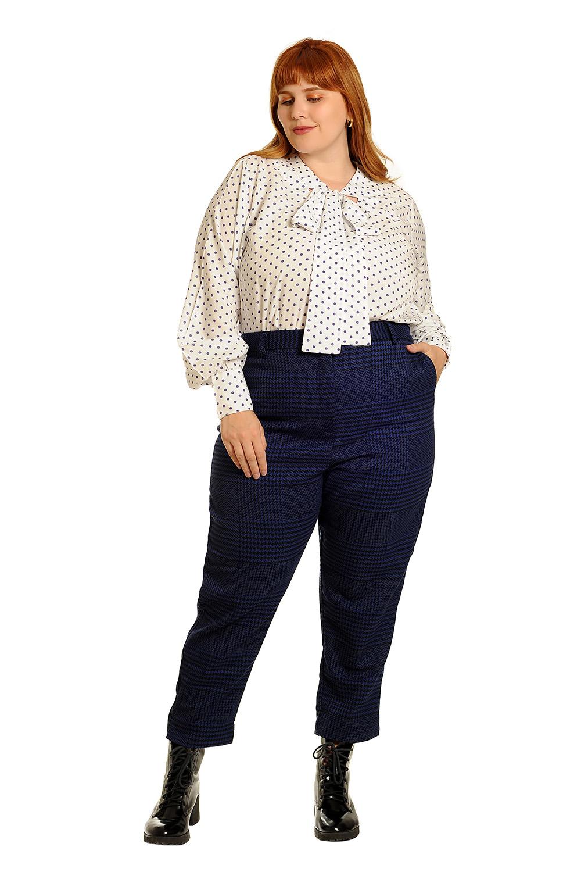 Camisa manga longa gola laço poá plus size off white