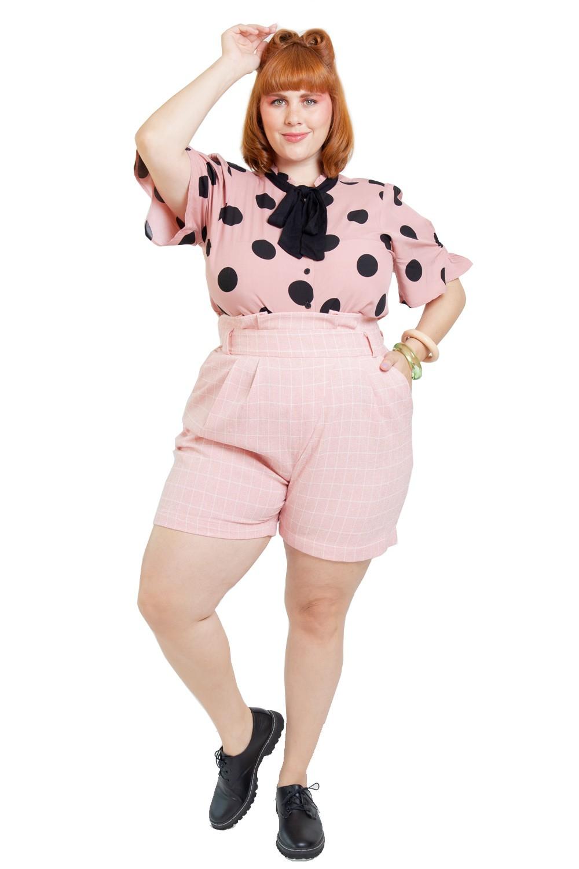 Camisa Paris poá Gola laço Plus size Rosa vintage