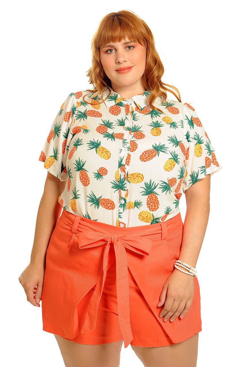 Camisa tropical abacaxi off white