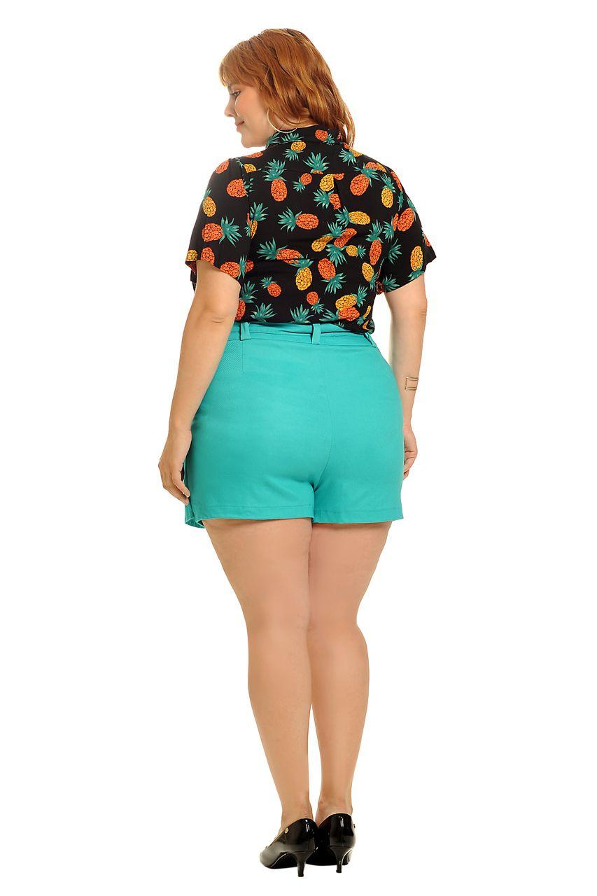 Camisa tropical abacaxi preta plus size
