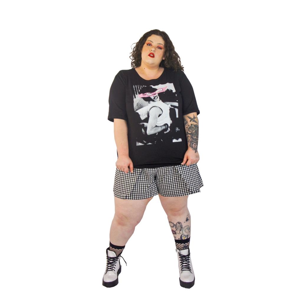 Camiseta God save the QueenPreta plus size
