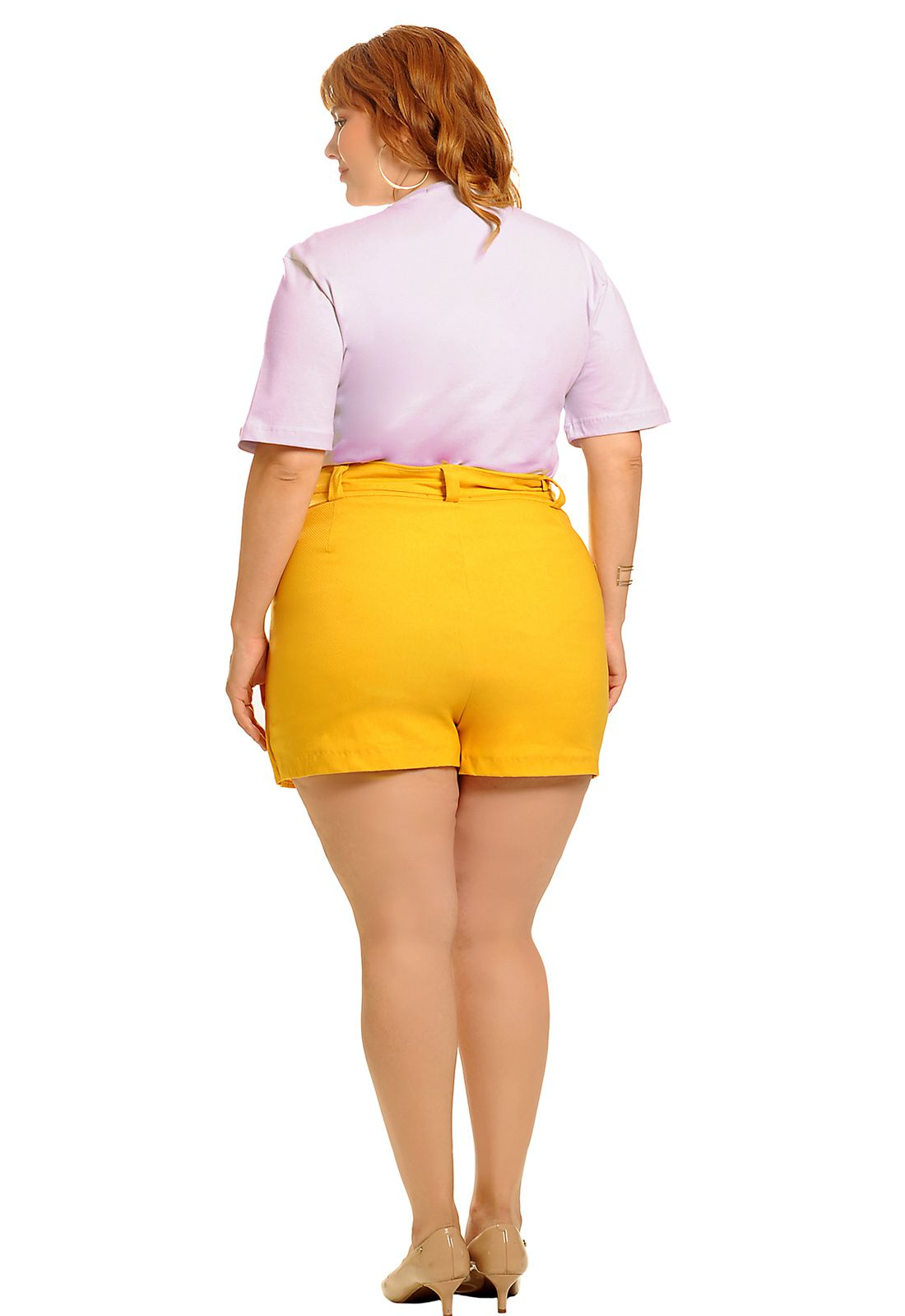 Camiseta long line free nipple lavanda plus size