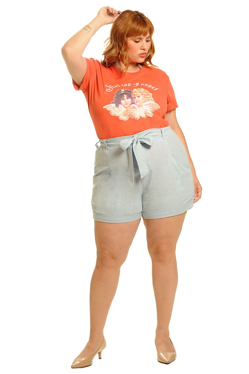 Camiseta long line not today angel coral plus size