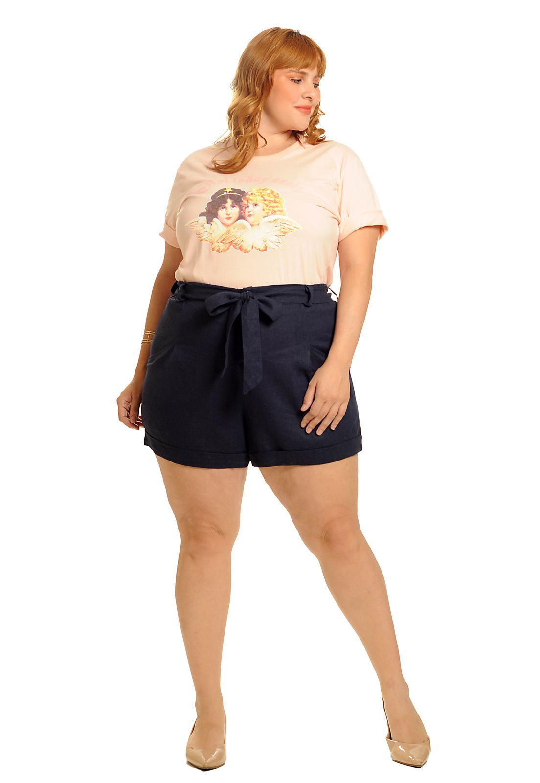 Camiseta long line not today angel rosa flamingo plus size