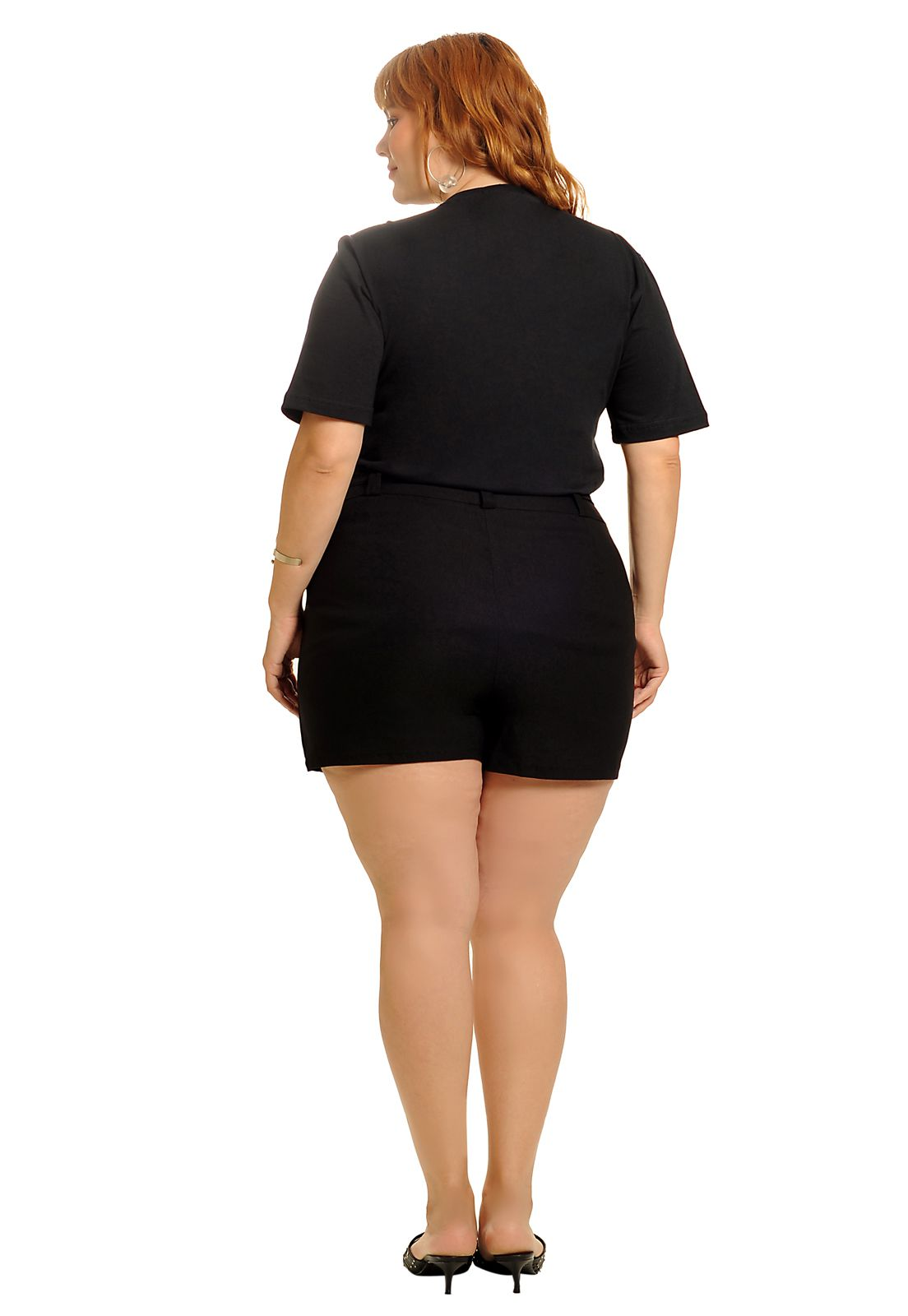 Camiseta long line queen preta plus size