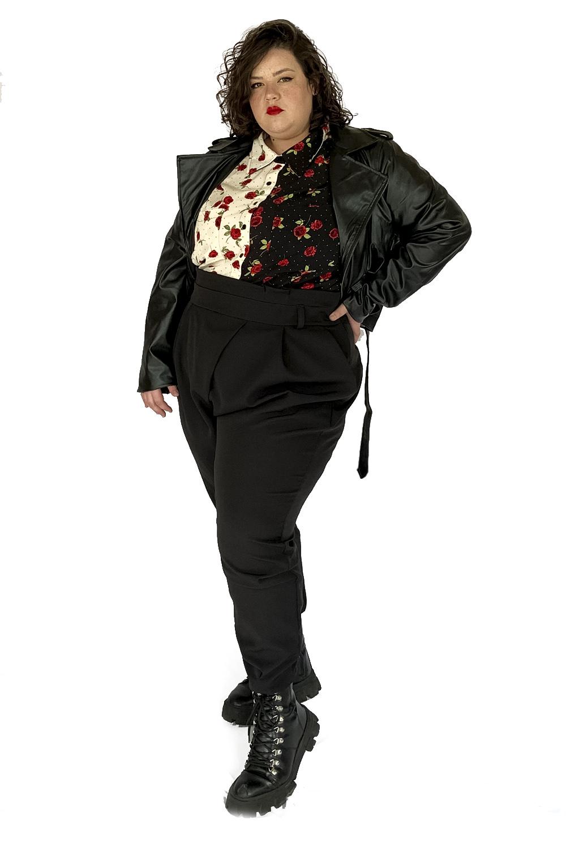 Jaqueta de couro rocker plus size preta