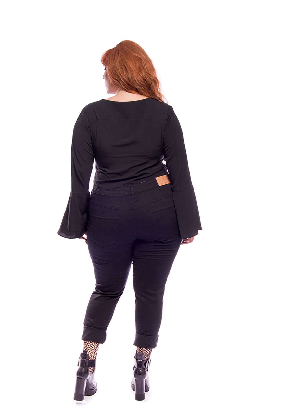 Jeans Plus Size Skinny Destroyed Preto