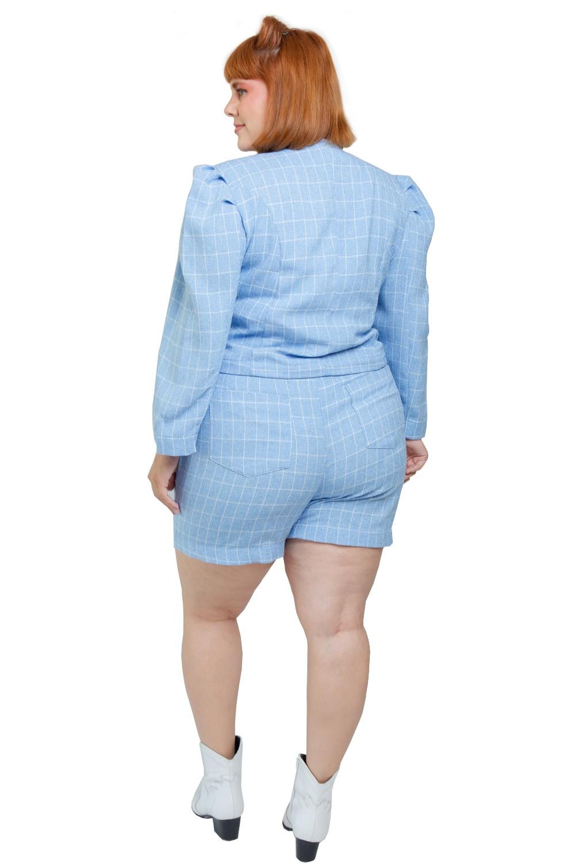 Short Xadrez sorvetinho Azul serenity Plus Size