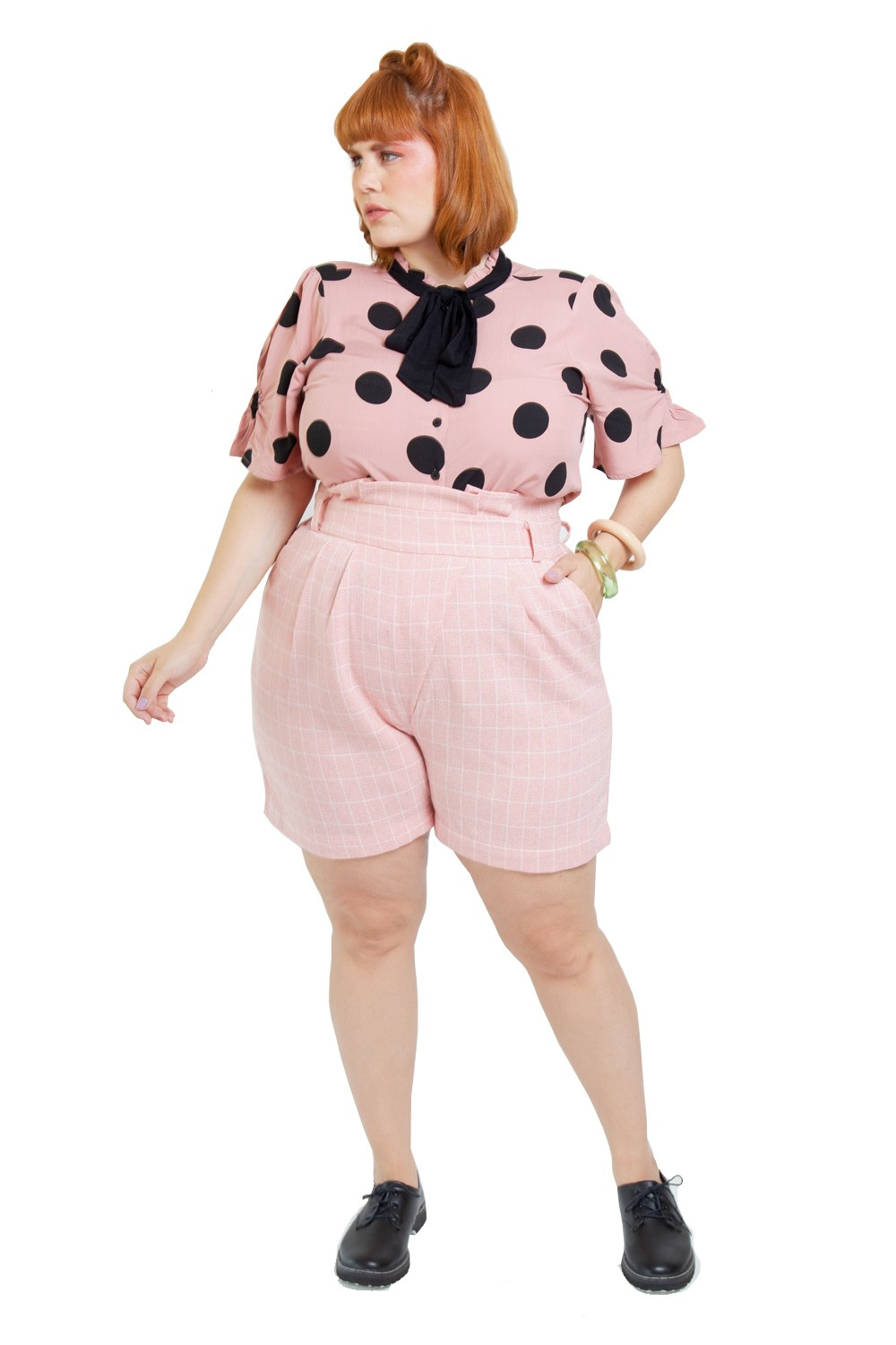 Short Candy Plus Size Xadrez Rosa flamingo