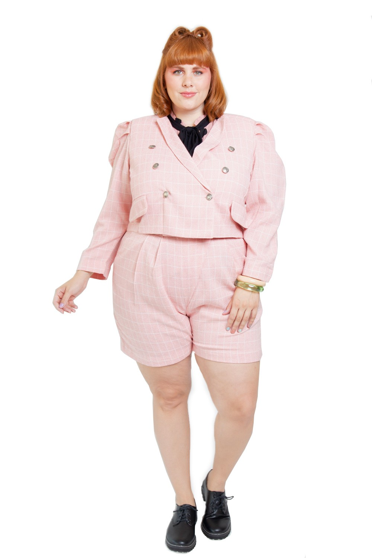 Short Candy Plus Size Xadrez Rosa flamingo