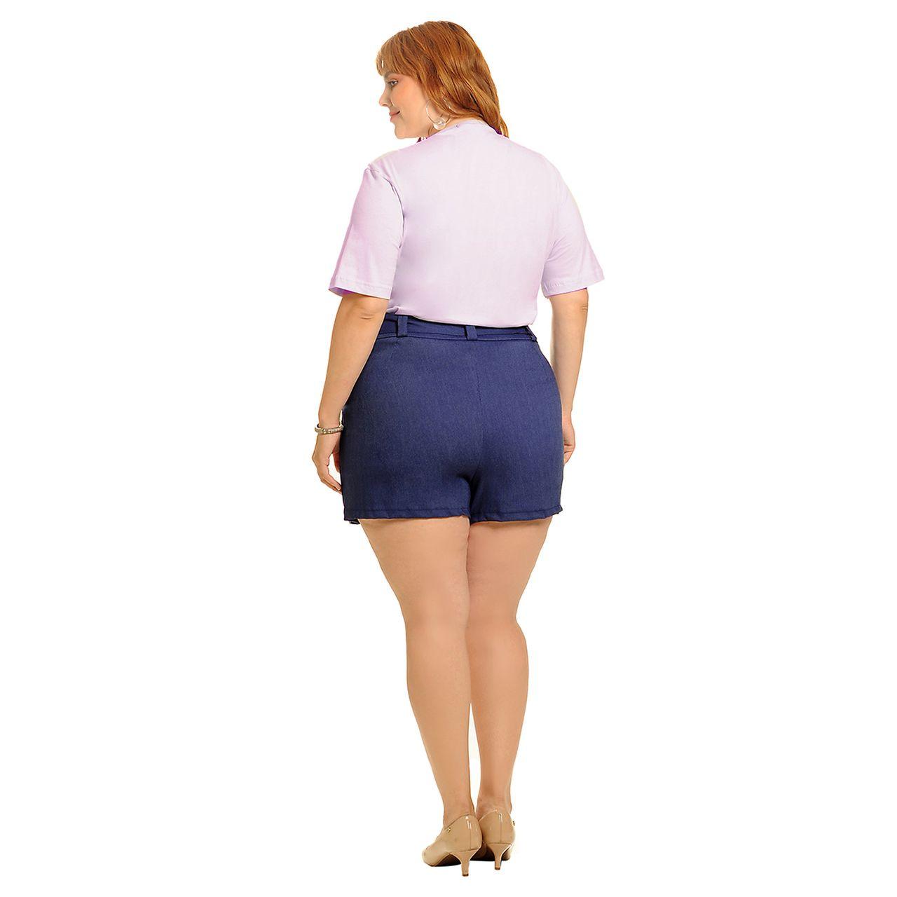 Short saia alfaiataria azul índigo plus size