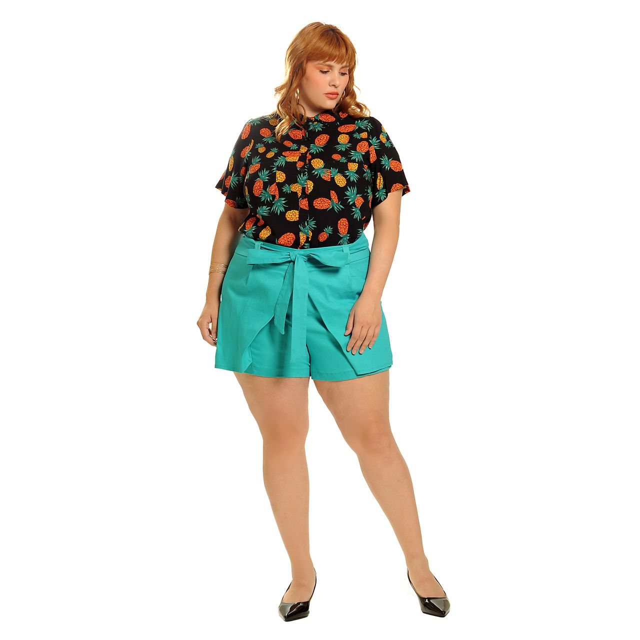 Short saia alfaiataria turquesa plus size