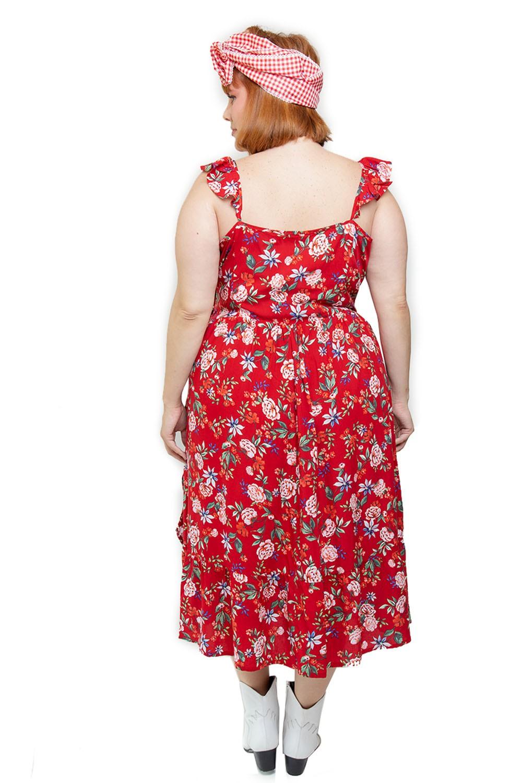 Vestido Flores vermelho plus size