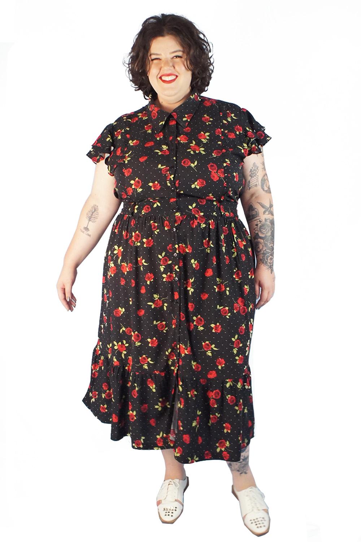 Vestido jardim de rosas preto