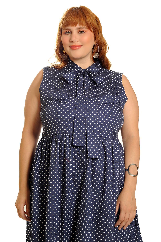 Vestido Lady Like Vintage Poá azul marinho Plus Size