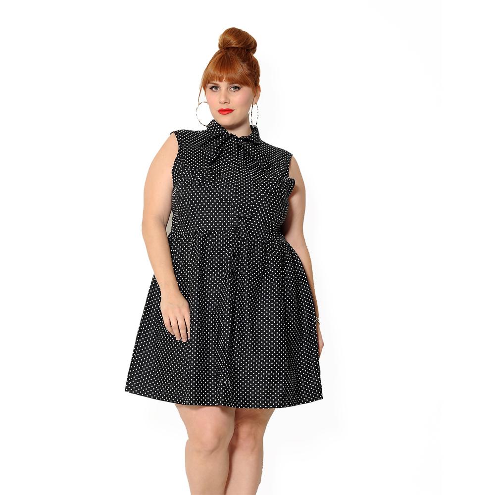 Vestido Lady Like Vintage Poá Preto Plus Size